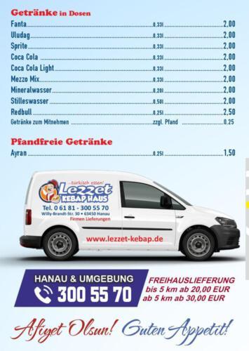 Speisekarte Lezzet Kebap Haus Hanau